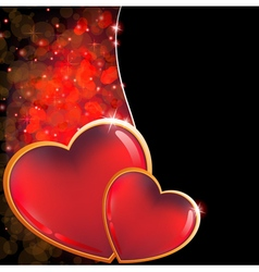 Valentines day background with two hearts vector