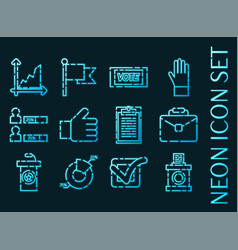 Vote set icons blue glowing neon style vector