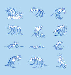 Waves and ocean or sea water splashes vector