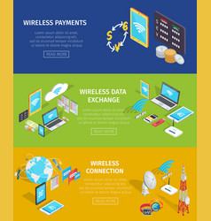wireless payment data exchange and connection vector image