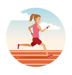 Woman running on track round icon vector