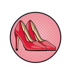 Women fashion high heels pop art cartoon vector