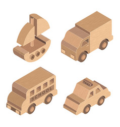 wooden toy transportation on white background vector image