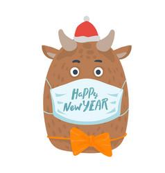 year bull postcard year bull 2021 vector image