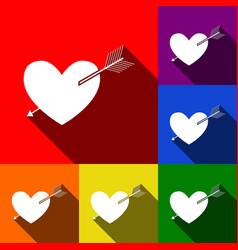 arrow heart sign set of icons with flat vector image vector image