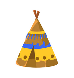 decorated wigwam hut native american indian vector image