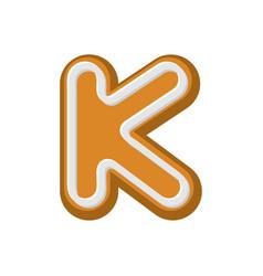 Letter k gingerbread peppermint honey-cake font vector