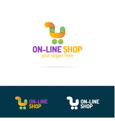 on line shop logo set consisting of shopping cart vector image vector image