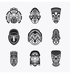 Tribal ethnic mask icons vector image vector image