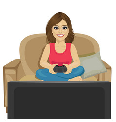 young woman playing video game at home vector image vector image