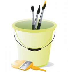 bucket and brushes vector image vector image