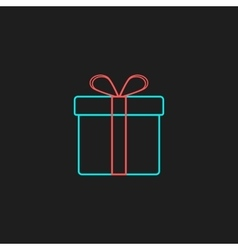 colored outline gift box on black background vector image vector image