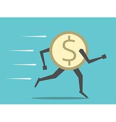 Dollar coin running vector image