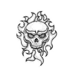 dotwork human skull with fire vector image