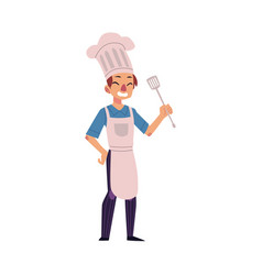 happy man in chef hat and apron holding turner vector image