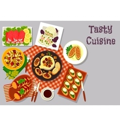 Healthy snack dishes icon for lunch menu design vector image
