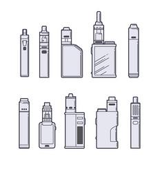 Vaping set vape devices outline on white vector