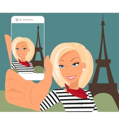 Blond woman is taking selfie in Paris vector image