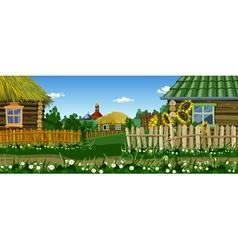 cartoon village street with houses and church vector image vector image