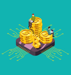 digital currency cryptocurrency gpu mining vector image