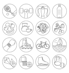 Healthy lifestyle outline icons vector image vector image