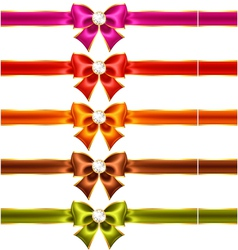 Holiday bows with diamonds and ribbons vector image vector image