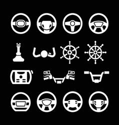 Set icons of steering wheel marine steering vector image
