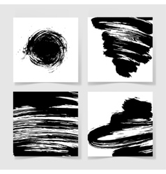 Set of four black ink brushes grunge square vector