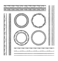 set of round frames and borders rope and dotted vector image vector image