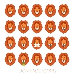 Set of the lion faces vector image