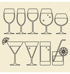 Alcohol Wine Beer Cocktail and Water Glasses vector image vector image