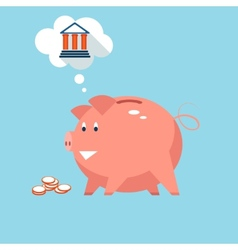 Banking piggy bank money into investments vector image