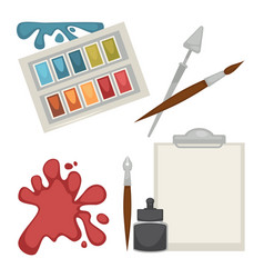 colorful equipment set for painting isolated on vector image vector image