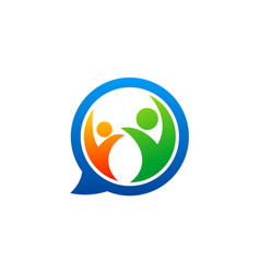 happy people chat communication logo vector image