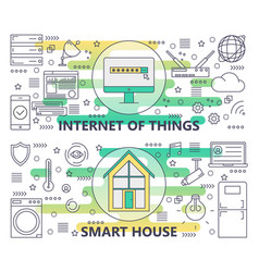 thin line internet of things and smart vector image