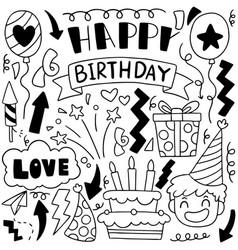 02-09-020 hand drawn party doodle happy birthday vector