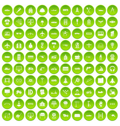 100 engineering icons set green circle vector
