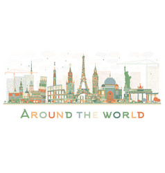 Abstract travel concept around the world with vector
