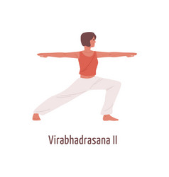 active cartoon woman practicing virabhadrasana ii vector image