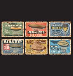 airship and hot air balloon vintage plates vector image