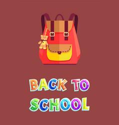 Back to school satchel poster vector