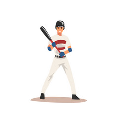 baseball player standing with bat softball vector image