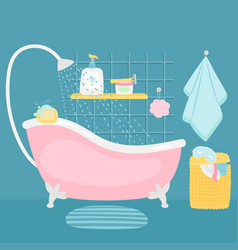Bathroom interior bath and accessories cartoon vector
