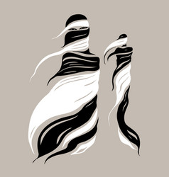 Beautiful muslim woman abstract fashion vector
