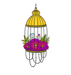 bird cage with bloom poppies vector image