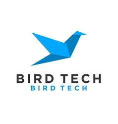 Bird technology logo design simple minimalist icon vector