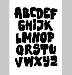 black heavy bold grungy font alphabet vector image