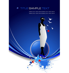 Blue abstract background with girl image vector