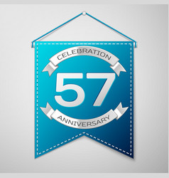 blue pennant with inscription fifty seven years vector image