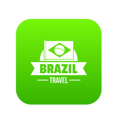 brazil flag icon green vector image